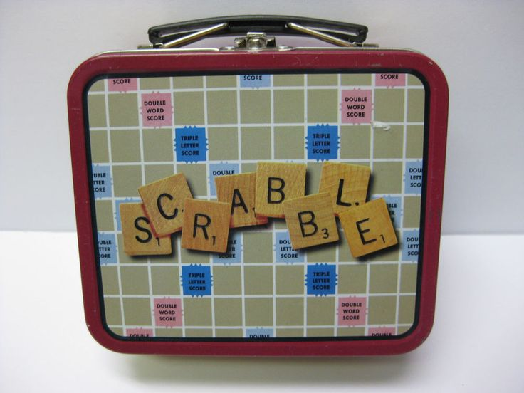 """HASBRO SCRABBLE SMALL METAL LUNCH BOX, 1997, AS FOUND, vintage 5.5"""" long"""