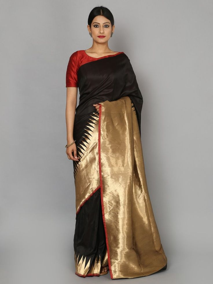 Black Hand Woven Banarasi Cotton Silk Saree