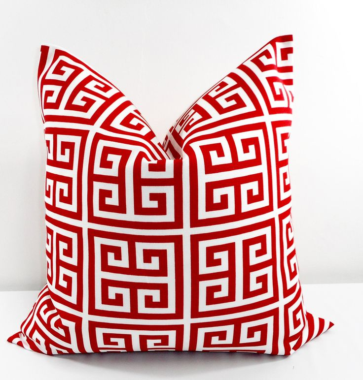 RED  Pillow. Red Outdoor Indoor Pillow cover. Greek Key  Red and White. Stain dirt resistant. Cushion Cover. Select your size by TwistedBobbinDesigns on Etsy