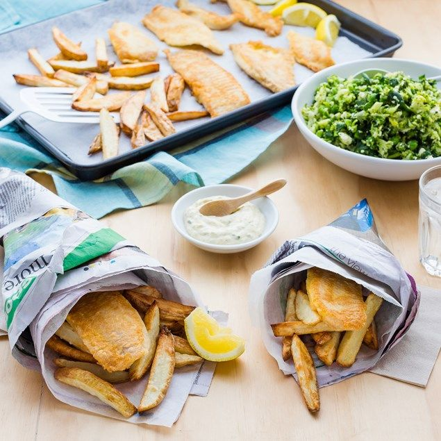 Our twist on the classic fish, chips and mushy peas.