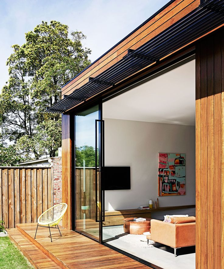 Floor to ceiling double glazed sliding doors open onto the for Sliding glass doors onto deck