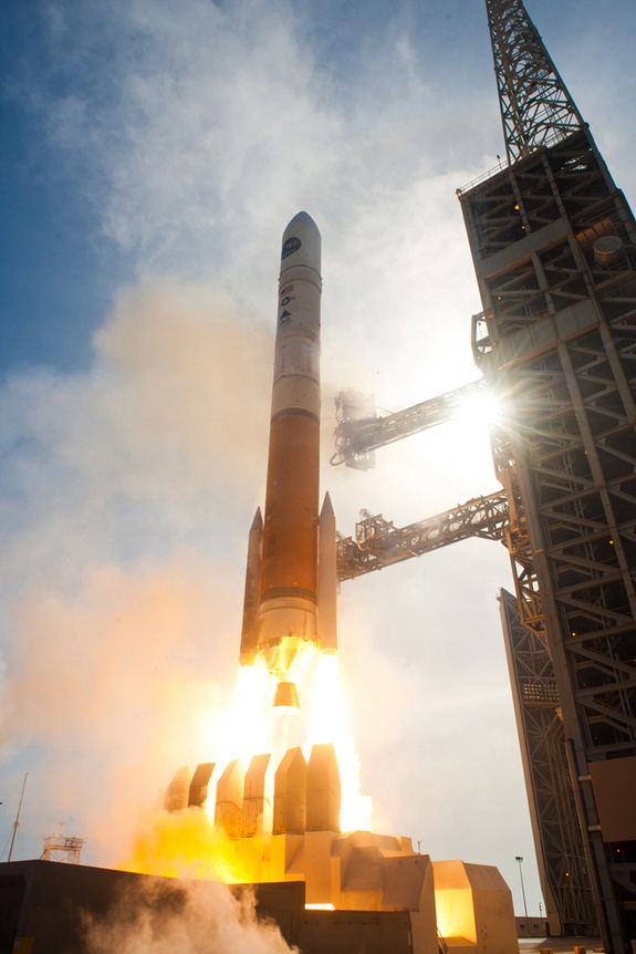 A United Launch Alliance Delta4 rocket carrying the NROL-25 spy satellite for the National Reconnaissance Office lifts off from Vandenberg AFB in California.