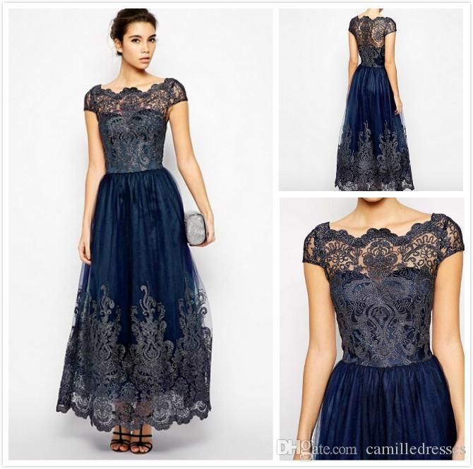 Cap Sleeve Mother Of The Bride Dresses Designer Sheer Neck