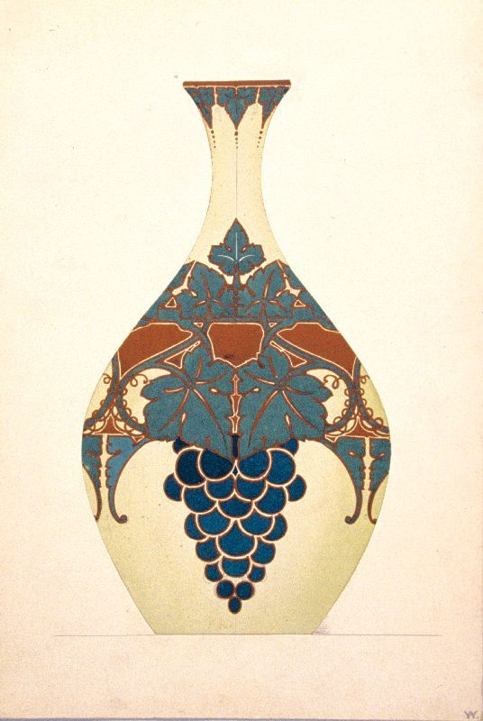 Drawing of Art Nouveau Vase with grape and vine leaves motif, circa 1900.