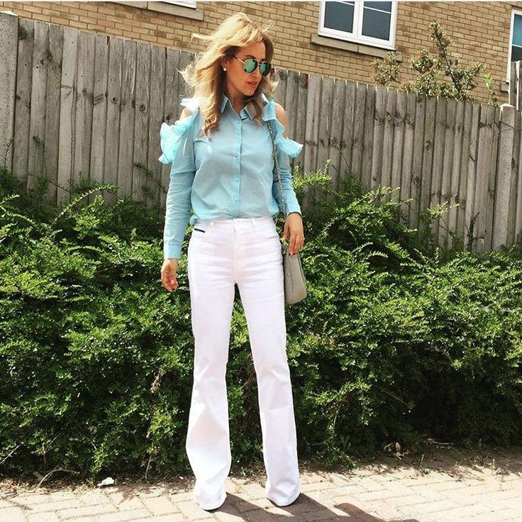 Cold shoulder top/ frills/ white flare jeans/ spring 2017