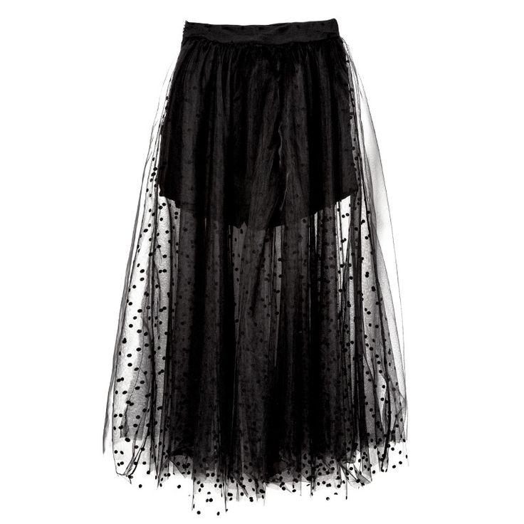 Verano Faldas Saia Moda Negro Mujeres Largo Maxi Faldas Para Mujer de Falda de Tul de Cintura Alta Sexy Perspectiva Falda Del Tutú de Corea C3246 | 32811123262_he