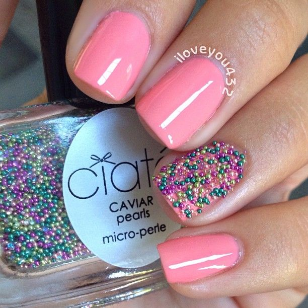 Pink Caviar Pearls nails nailart by ❁тαylor❁ @iloveyou432 Instagram photos | Websta (Webstagram)