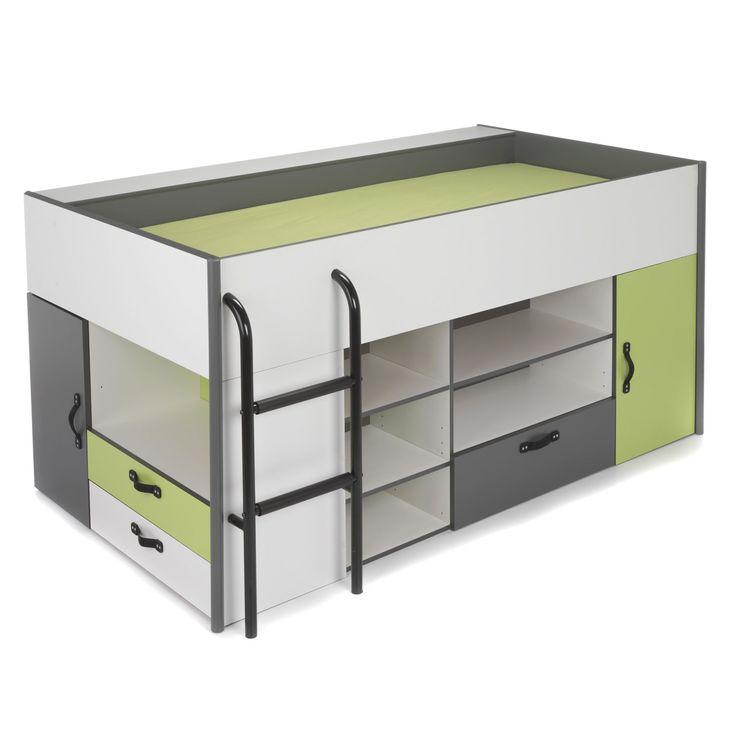 Lit combiné avec rangements pour enfant Blanc/gris , Graphite/vert pomme - Kiwi - Les lits mi-hauts - Lits - Lits et matelas - Décoration d'intérieur - Alinéa