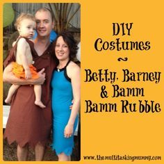 How to make DIY Barney, Betty & Bamm Bamm Rubble costumes without a pattern.