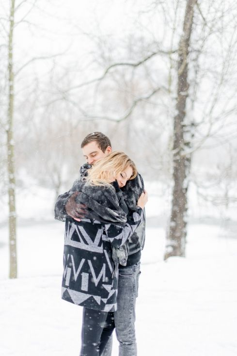 Snowy winter couple session