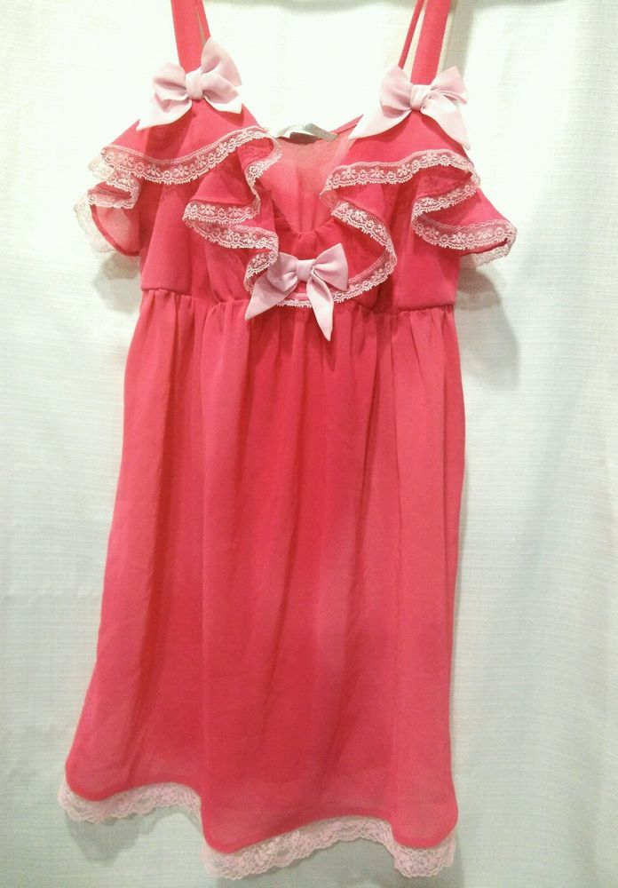 Victorias Secret Baby Doll Nightie Nightgown Chemise Melon Pink Sm  Sexy Spring  | Clothing, Shoes & Accessories, Women's Clothing, Intimates & Sleep | eBay!