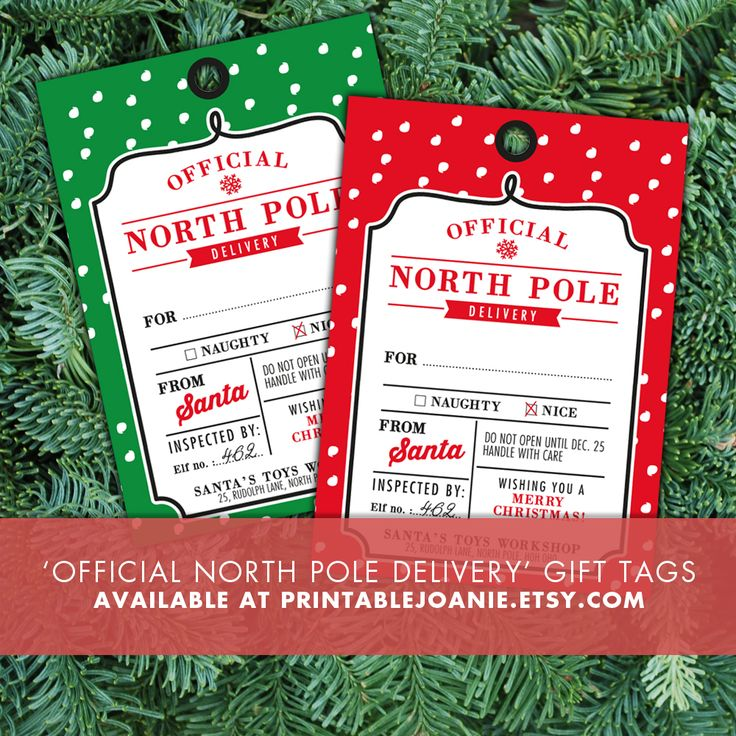 Printable Christmas Gift Tags/Label - Official Delivery From North Pole  - Print these fun gift tags, hole punch them and use a cute little string or ribbon to attach them to your presents! Your kids will be very excited to see that their gifts come directly from Santa's Workshop in North Pole :-)