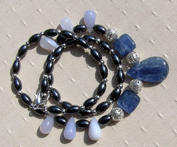 Blue Kyanite Chalcedony & Hematite Crystal by SunnyCrystals, $47.00