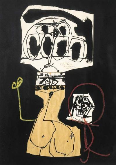 Maternidad  by Antonio Saura (1930-1998)  crayon, brush and black ink and collage on paper  235/8 x 195/8in. (60 x 50cm.)
