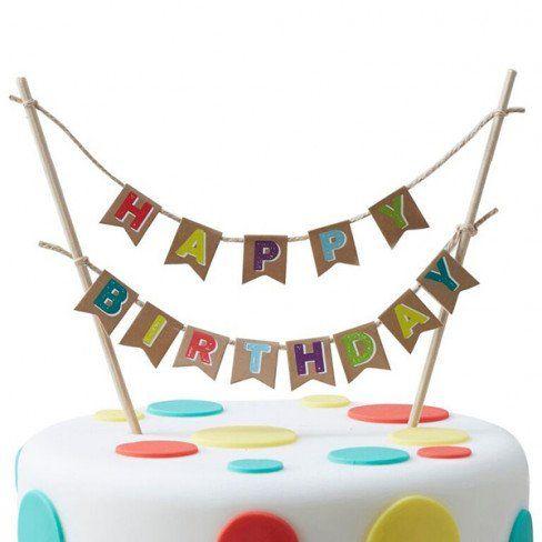 """Cake topper """"HAPPY BIRTHDAY"""" multicolore su base kraft - Baby Party - Party e allestimenti"""