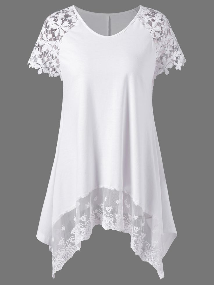 V Neck Lace Panel Tunic Top