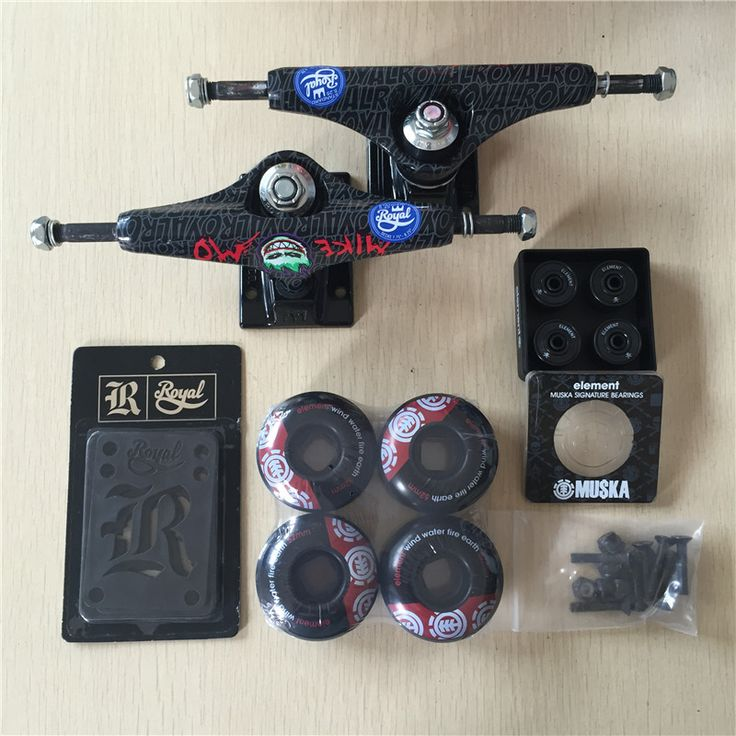 "Free Shipping Skateboard Parts Royal Aluminum 5.25"" Skate Trucks And ELEMENT PU Skate Wheels ELEMENT ABEC-7 Bearings"