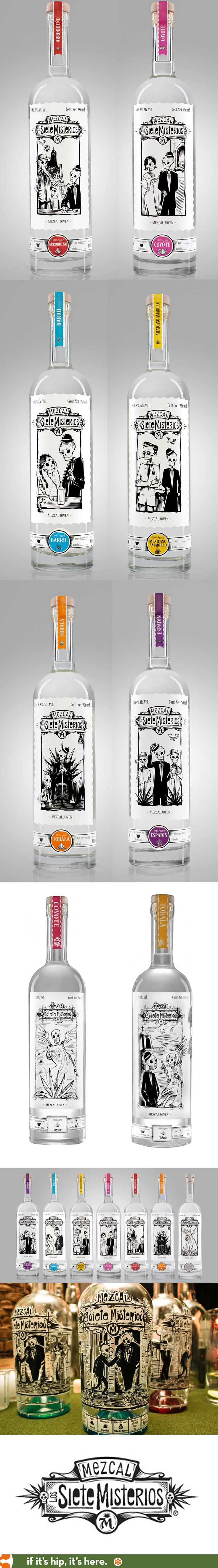 Siete Misterios Mezcal bottles have wonderful Day of The Dead inspired labels PD