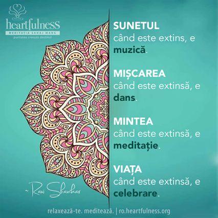 SUNETUL când este extins, e muzică. MIȘCAREA când este extinsă, e dans. MINTEA când este extinsă, e meditație. VIAȚA când este extinsă, e celebrare. ~ Ravi Shankar #heartfulness   #inspiratii_zilnice   #hfnro  Heartfulness Romania - Google+