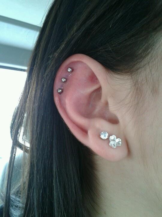 Triple cartilage piercing | Beauty | Pinterest