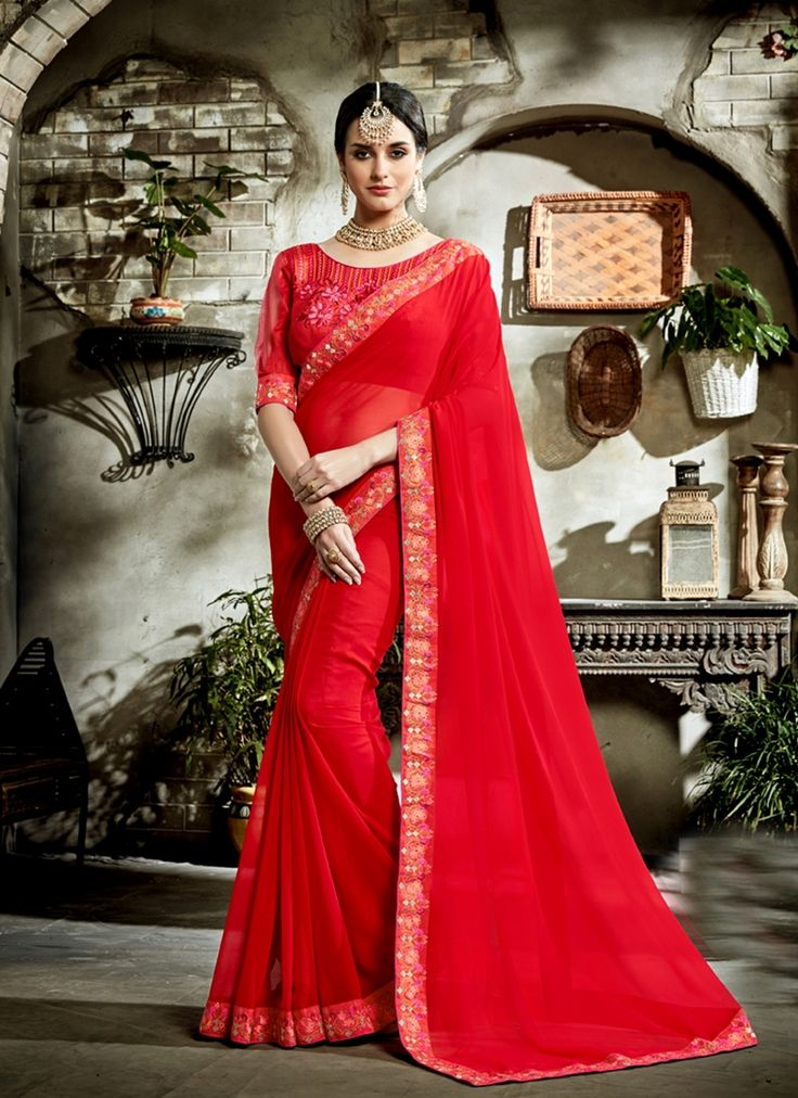 Sarees online shopping and check latest collection in silk sarees at india's best online shopping store. Buy this honourable faux georgette designer saree.
