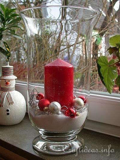 christmas centerpieces with big glass bowls | Christmas and Winter Craft - Christmas Hurricane Glass Centerpiece