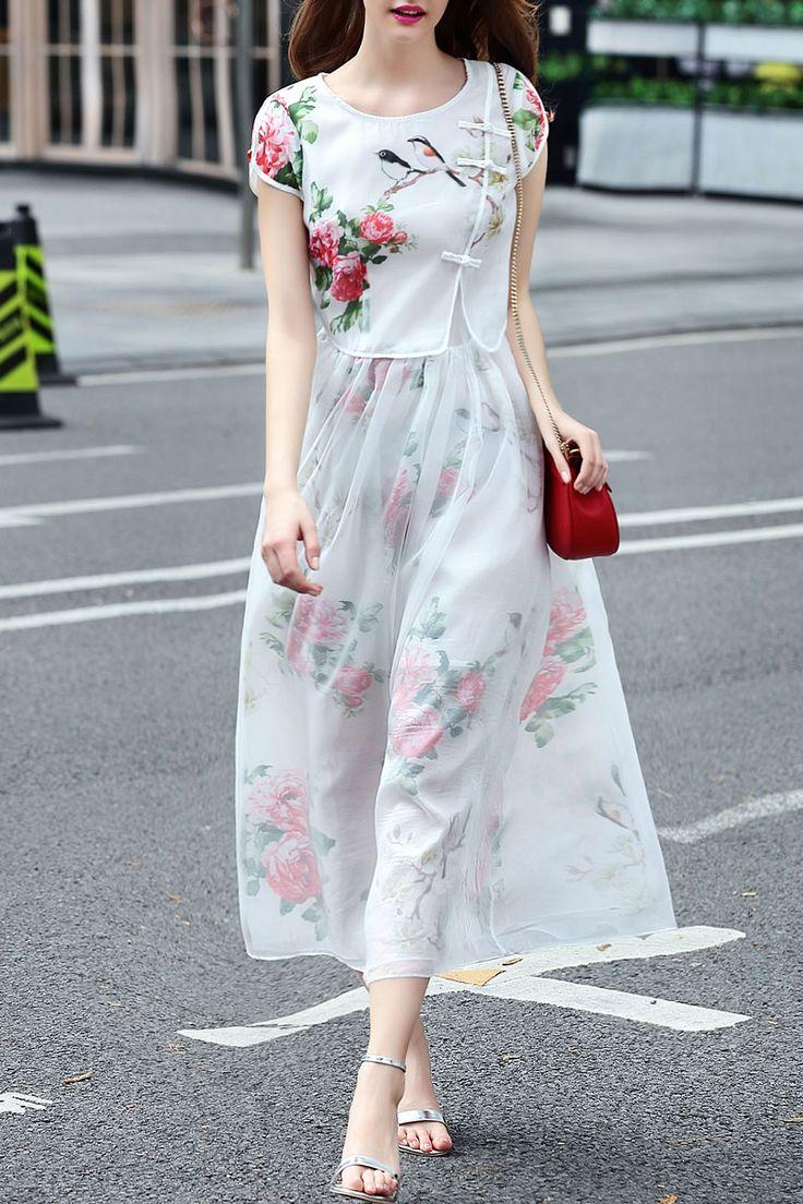 White Long Floral Dress