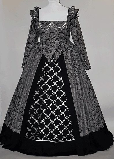 16th Century English Renaissance gown, made of brocade and trimmed with wool, silver braid and pearls.
