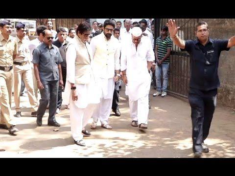 Amitabh, Abhishek Bachchan & Jackie Shroff at Suniel Shetty's father's funeral.