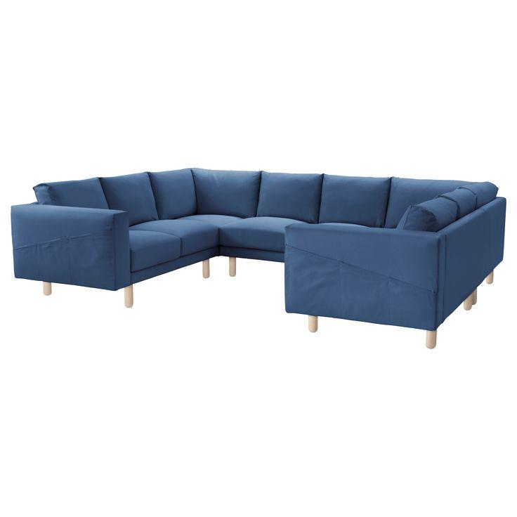 NORSBORG Canapé 8 places, en U - Edum bleu foncé, bouleau - IKEA