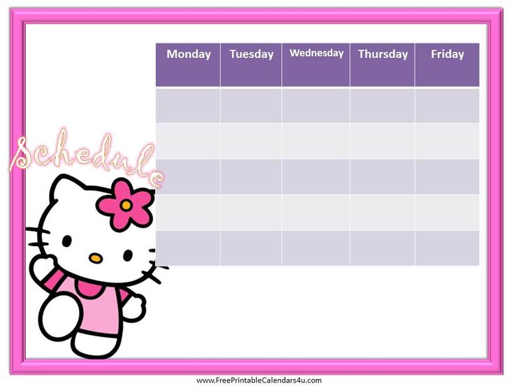 Best Weekly Calendar For Girls Images On   Calendar