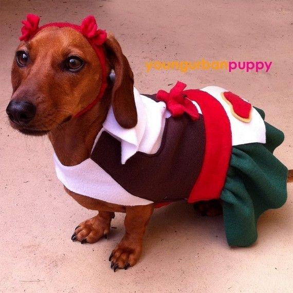 Heidi Oktoberfest Lederhosen Costume for Dogs by YoungUrbanPuppy, $32.50