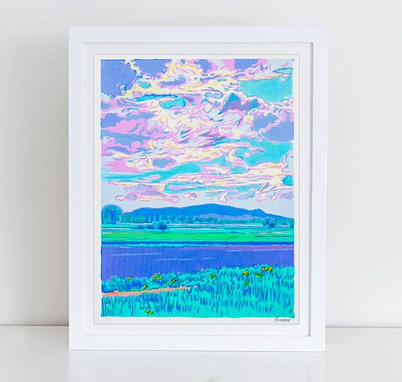 Wheat Fields in a Mountainous Landscape  handmade serigraph