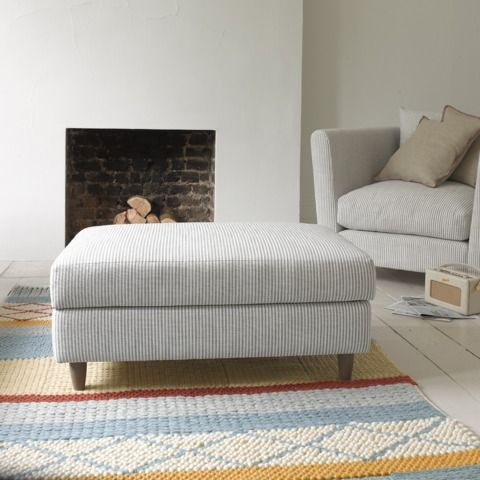 Oodle footstool & Flopster armchair in zinc pencil stripe