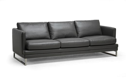 Wholesale Interiors Baxton Studio Dakota Pewter Gray Leather Modern Sofa