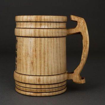 """Caneca de cerveja artesanal de madeira xícara tigela projeto decorativo homem atual """"Cárpatos"""""""