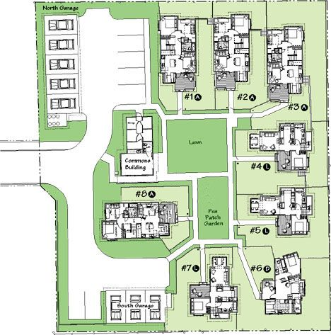 Greenwood Avenue Site Plan- Shoreline, WA Site Size: 34,755 SF DU/Acre: 10 Number of Homes: 8 Square Footage Range: 768 - 998 SF Land Use Code Provision: Cottage Housing Development Code