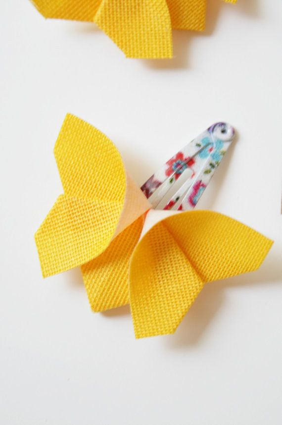 Yellow Origami Butterfly Hair Clips – Wild Dill