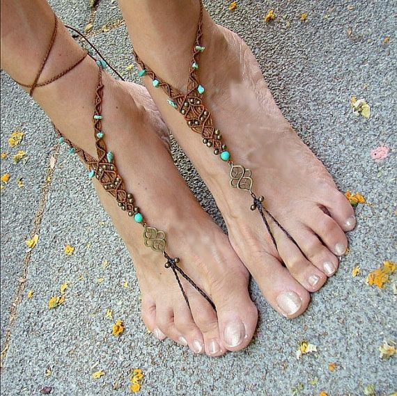 fairy barefoot sandles brown anklets beach shoes macrame hippie toe ring beaded foot jewelry tagt team on Etsy, $49.00