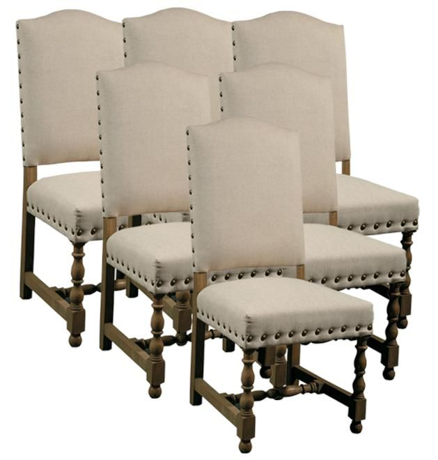 6 new dining chairs spanish style wood frame linen fabric upholstery nailhead upholstery - Nailhead dining room chairs ...