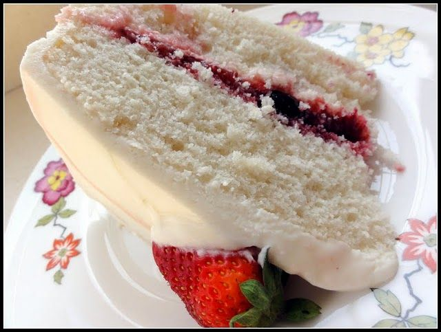 White Almond Cake with Fruit Filling and Cream Cheese Frosting