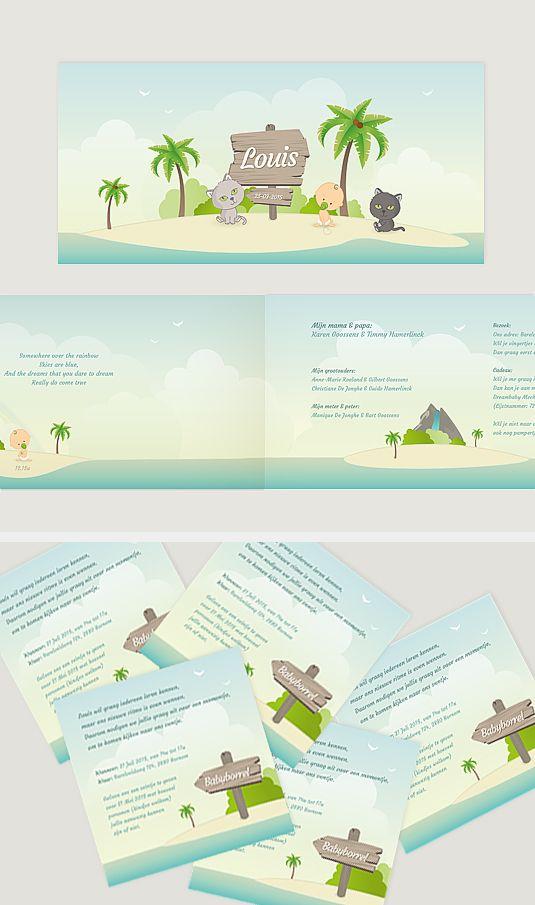 geboortekaartje, louis, kat, baby, hawaii, strand, palmbomen, palmtrees, beach, uniek, op maat