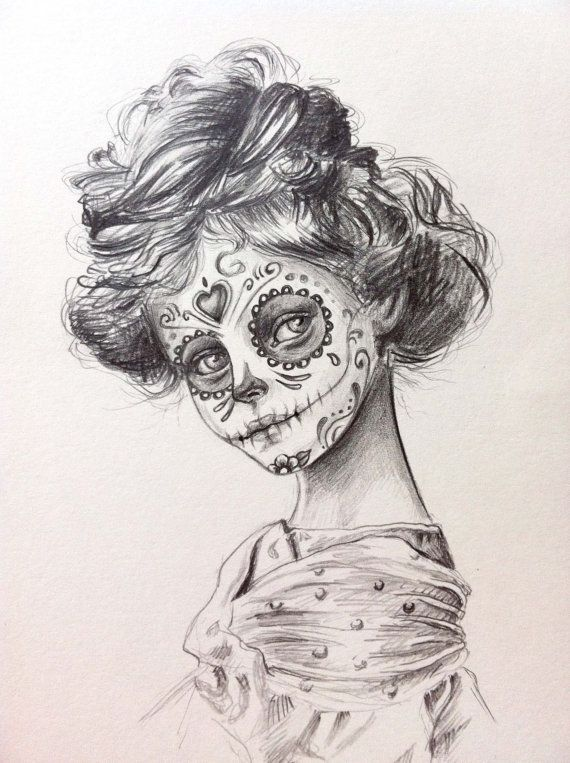 day of the dead Sugar Skull girl , original drawing. would be an awesome tattoo