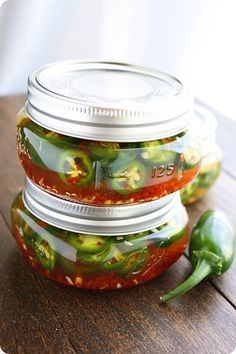 Easy Pickled Jalapeños – Try these quick & easy pickled jalapeños and use year-round on sandwiches, dips, salads and more! | thecomfortofcooking.com   Made these Spring 2015 and they are spicy good!   ML