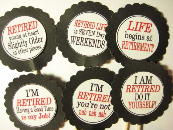 15 Retirement Party Picks  Cupcake Toppers  by ThePrettyPaperShop