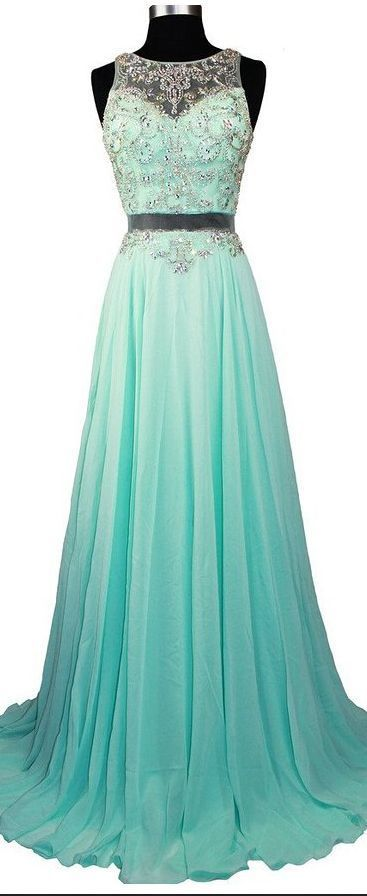 Fashionable Sexy Long Chiffon Prom Dresses Beaded Crystals Evening Gowns,MB 77