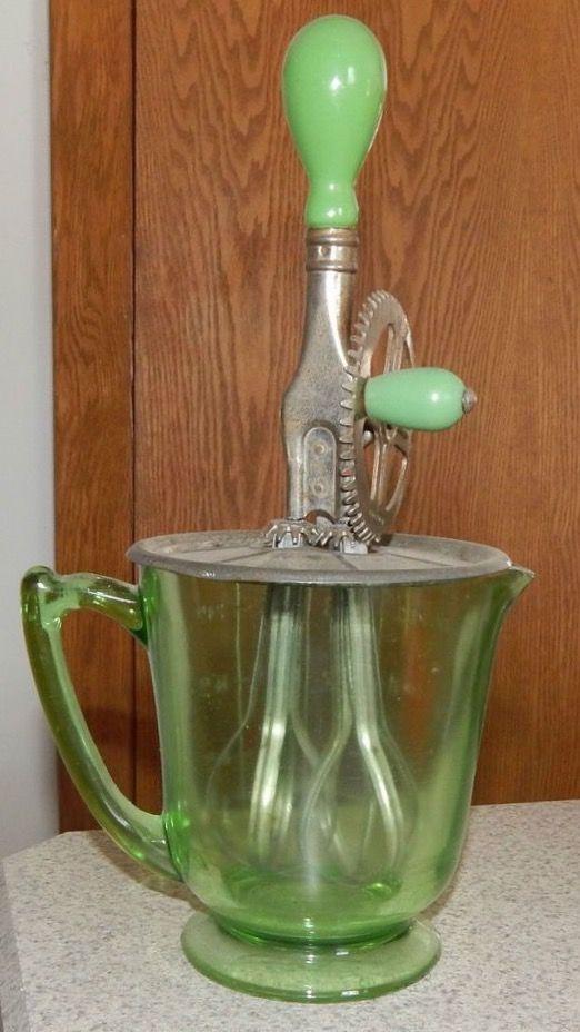 Green Depression Glass Hand Mixer Vintage Kitchen Utensil