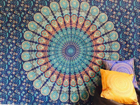 Indian Throw Hippie Gypsy Cover Bohemian Dorm Deco 100% Cotton Hand Printed Block Print Design Mandala Tapestry Wall Hanging Beach Bedspread