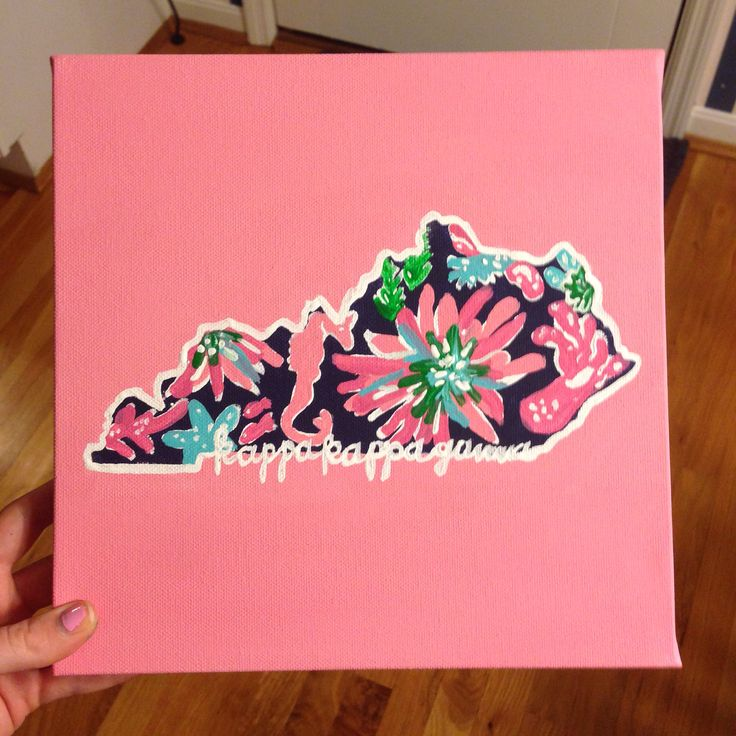 Kappa Kappa Gamma Kentucky state outline. Love the Lilly Pulitzer print on the inside! #DIY #sorority                                                                                                                                                      More