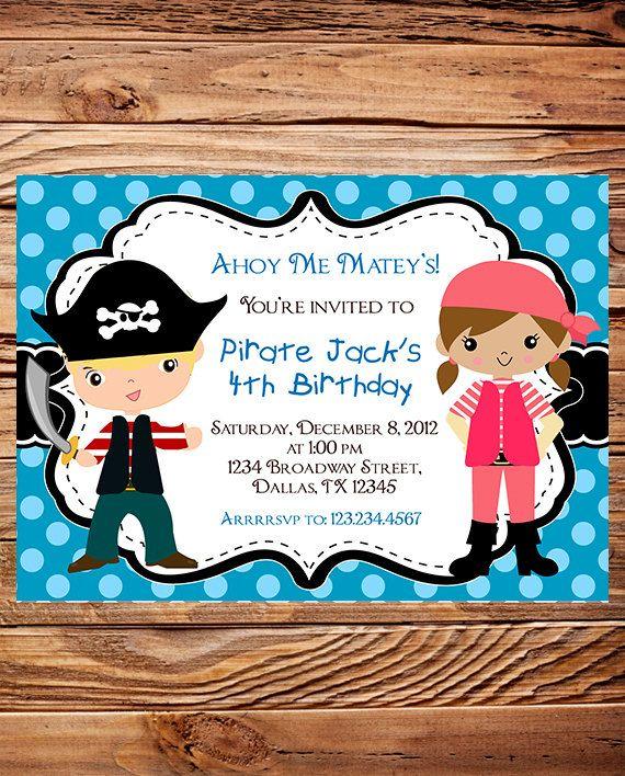 Pirate Birthday Party Invitation, GIRL, Boy, Pirates Birthday Party, Red, Blue, Black, Polka Dot, Printable, Digital. $18.00, via Etsy.